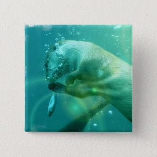 水泳のカワウソの正方形Pin 5.1cm 正方形バッジ