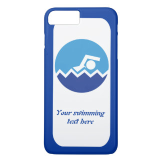 水泳のギフト、青い円のモダンの泳ぐ人 iPhone 8 PLUS/7 PLUSケース