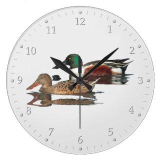 水泳のハシビロガモ ラージ壁時計
