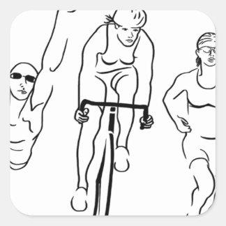 水泳のバイクの操業トライアスロンの女性 スクエアシール