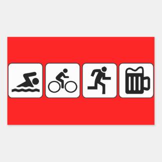 水泳のバイクの操業飲み物 長方形シール