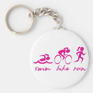水泳のバイクは三女の子を走ります キーホルダー