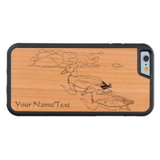 水泳のマガモ水場面線画のデザイン CarvedチェリーiPhone 6バンパーケース