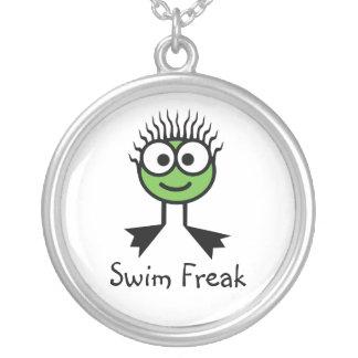 水泳の変種-緑の水泳のキャラクターNecklac シルバープレートネックレス