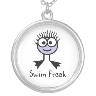 水泳の変種-薄紫の水泳のキャラクターのネックレス シルバープレートネックレス