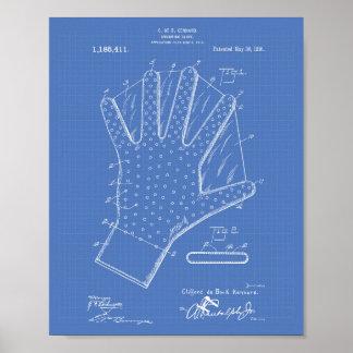 水泳の手袋1916のパテントの芸術の青写真 ポスター