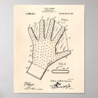 水泳の手袋1916のパテントの芸術古いPeper ポスター