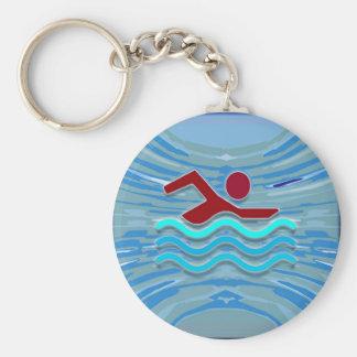 水泳の泳ぐ人愛ハートのピンクの赤いプールNVN695のおもしろい キーホルダー