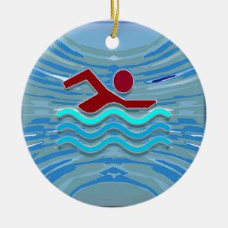 水泳の泳ぐ人愛ハートのピンクの赤いプールNVN695のおもしろい セラミックオーナメント