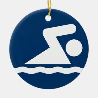 水泳の記号のオーナメント セラミックオーナメント