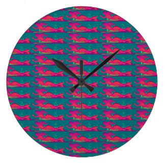 水泳の赤い人魚の時計 ラージ壁時計