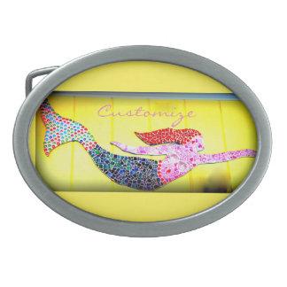 水泳の赤毛のモザイク人魚Thunder_Cove 卵形バックル