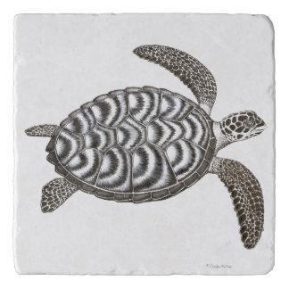 水泳のHawksbillのウミガメの石Trivet トリベット