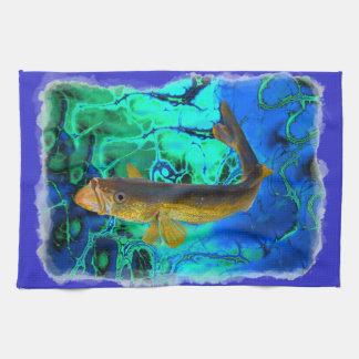 水泳のWalleye、Pickerelの魚の芸術 キッチンタオル