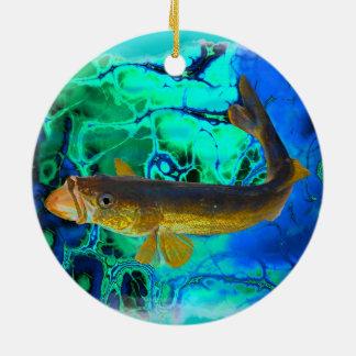 水泳のWalleye、Pickerelの魚の芸術 セラミックオーナメント