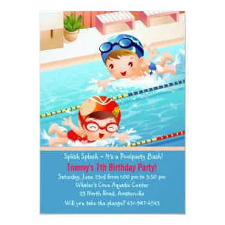 水泳はプールのパーティの招待状を加えます カード