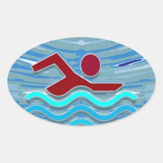水泳クラブ泳ぐ人のエクササイズのフィットネスNVN254の水泳 楕円形シール
