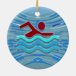 水泳クラブ泳ぐ人2の側面によって印刷されるオーナメント セラミックオーナメント