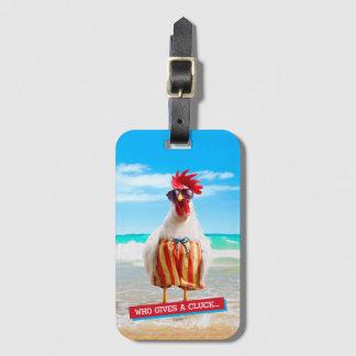 水泳パンツのビーチのオンドリの男Chillin ラゲッジタグ