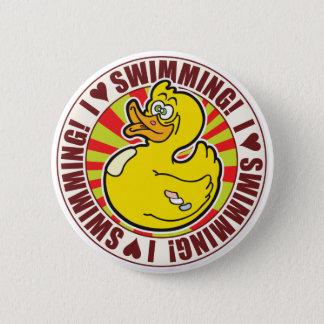 水泳愛アヒル 5.7CM 丸型バッジ