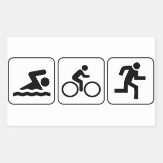 水泳、バイク、操業-トライアスロン 長方形シール