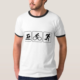 水泳、バイク、操業-トライアスロン Tシャツ
