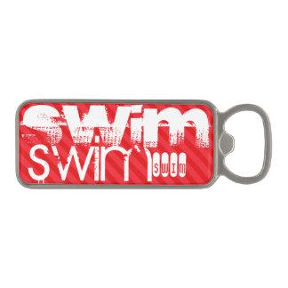 水泳; 深紅の赤のストライプ マグネット栓抜き