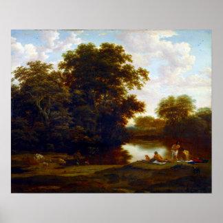 水浴者を持つヨリスvan der Haagen Landscape ポスター