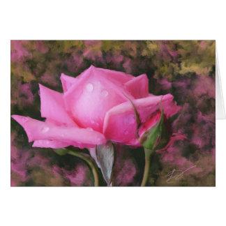 水滴の空白のな挨拶状を持つピンクのバラ グリーティングカード