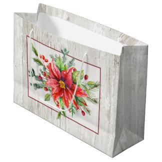 水漆喰を塗られた木の素朴な水彩画のポインセチア ラージペーパーバッグ
