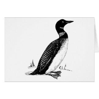 水潜り鳥の鳥のイラストレーション カード
