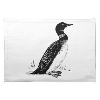 水潜り鳥の鳥のイラストレーション ランチョンマット