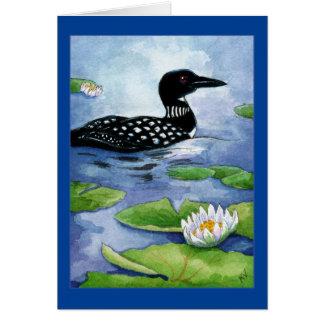 水潜り鳥、北の野性生物、鳥、コテッジ、湖、池 カード