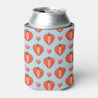 水玉模様およびハートが付いているハートのいちご 缶クーラー