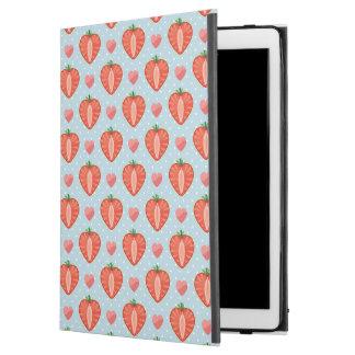 """水玉模様およびハートが付いているハートのいちご iPad PRO 12.9"""" ケース"""