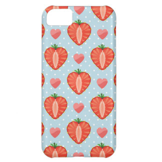 水玉模様およびハートが付いているハートのいちご iPhone5Cケース