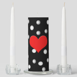 Unity candle set, with polka dot and heart design
