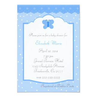 水玉模様および蝶青いベビーシャワー カード