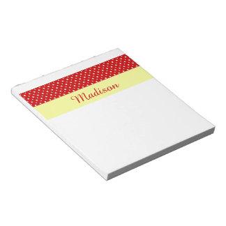 水玉模様と名前入り、深紅色または黄色 ノートパッド