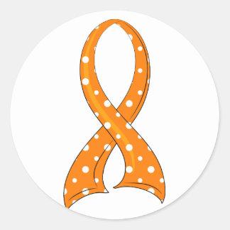 水玉模様のオレンジリボンの白血病 ラウンドシール