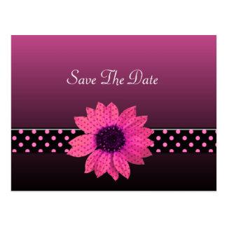 水玉模様のデイジーのピンクの結婚式 ポストカード