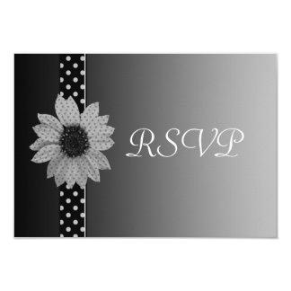 水玉模様のデイジーの灰色及び黒い結婚式 カード