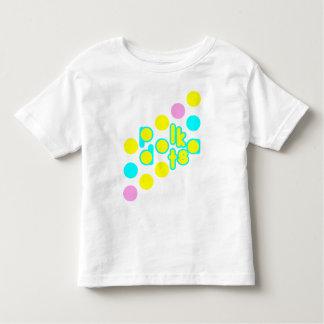 水玉模様のデザインのWhtieの幼児のジャージーのTシャツ トドラーTシャツ