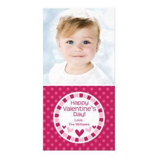 水玉模様のハートのピンクのバレンタインデー カード