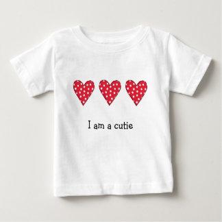 水玉模様のハート ベビーTシャツ