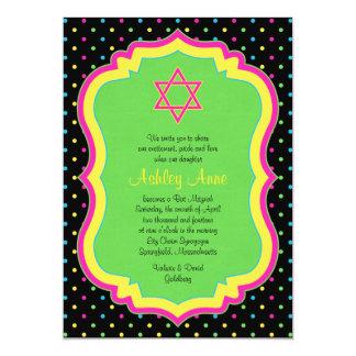 水玉模様のバルミツワーのネオン招待状 カード