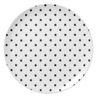 水玉模様のプレート、黒及び白 プレート