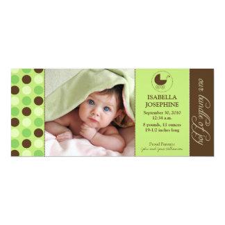 水玉模様のベビーの誕生の発表(ライムグリーン) カード