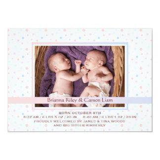 水玉模様のボーダー組合せの写真の誕生の発表 カード