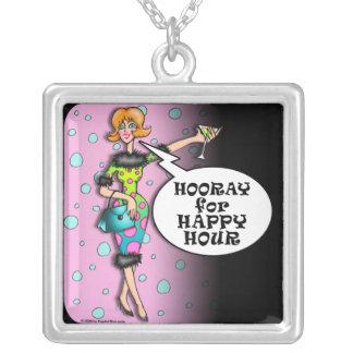 水玉模様のマルティーニの花型女性歌手のネックレス シルバープレートネックレス